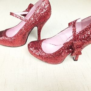 Red Glitter Bow high heels 7 boho leg avenue
